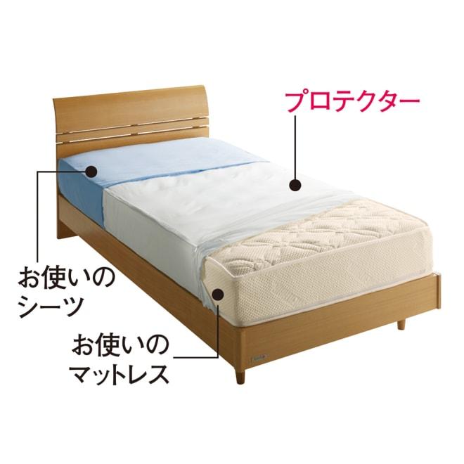 ミクロガード(R)防ダニ用寝具プロテクター マットレス用 上からお使いのシーツ、プロテクター、お使いのマットレス。これ1枚でマットレスをダニから守ります!
