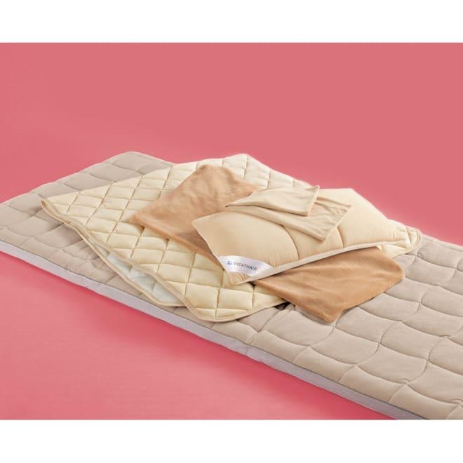 【こんなにお得な冬の限定セット】ブレスエアー(R)敷布団ネオ お得なあったかセット ブレスエアー敷布団ネオ、ブレスエアー枕、枕カバー、吸湿発熱パッド、あったかシーツのセットで寒い冬も安心!※ダブルとクイーンサイズは、枕と枕カバーが2個ずつ付きます。