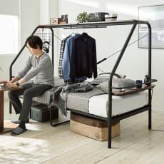一台で何役もこなす!多機能ぐうたらベッド シングル1段・高さ151cm ポケットコイルマットレス付き