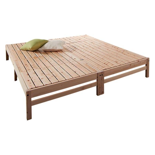 国産ひのき天然木すのこシングルベッド 棚なし お得な2点セット(フレームのみ) 連結金具でキングサイズの川の字ベッドに