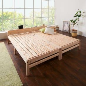 国産ひのき天然木すのこシングルベッド 棚あり お得な2点セット(ポケットコイルマットレス付き) 写真