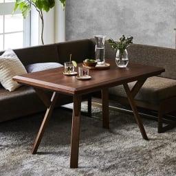 【長方形】天然木ダイニングこたつテーブルシリーズ テーブル 幅120cm奥行70cm高さ65cm (イ)ダークブラウン ※お届けはテーブルのみです。