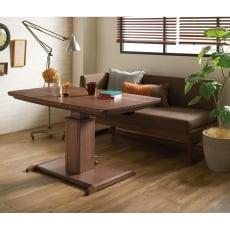 ウォルナット天然木の昇降式こたつテーブル 幅120cm奥行70cm