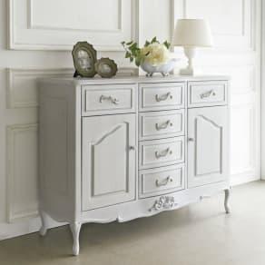 シャビーシック ホワイト フレンチ収納家具シリーズ リビングボード 写真