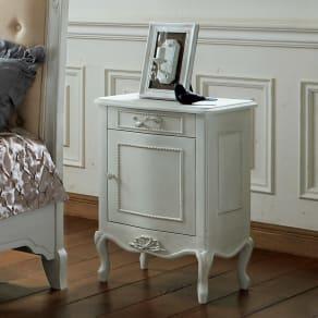 シャビーシック ホワイト フレンチ収納家具シリーズ サイドチェスト 写真