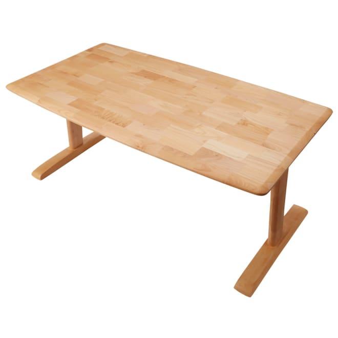 包まれる座り心地のリビングダイニング テーブル (ア)ナチュラル テーブルの天板角を丸く仕上げた優しいフォルム。