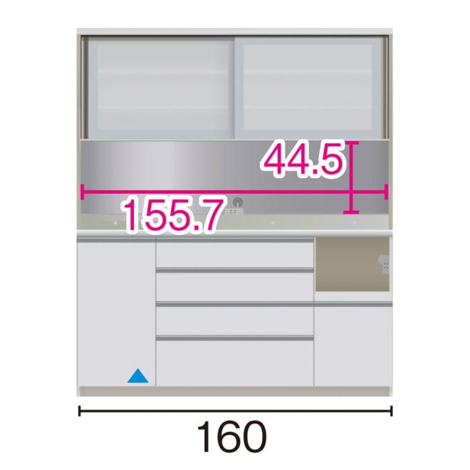 サイズが豊富な高機能シリーズ ダイニング家電収納 幅160奥行50高さ187cm/パモウナ JZL-1600R JZR-1600R (ア)家電収納の位置:右 ※赤文字は内寸、黒文字は外寸表示です。(単位:cm) オープン部奥行46 スライドテーブル部幅34.5高さ28.9奥行44cm ▲部分の収納部は開扉です。