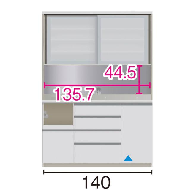サイズが豊富な高機能シリーズ ダイニング家電収納 幅140奥行45高さ198cm/パモウナ VZL-S1400R VZR-S1400R (イ)家電収納の位置:左 ※赤文字は内寸、黒文字は外寸表示です。(単位:cm) オープン部奥行40.5 スライドテーブル部幅34.5高さ28.9奥行38cm ▲部分の収納部は開扉です。