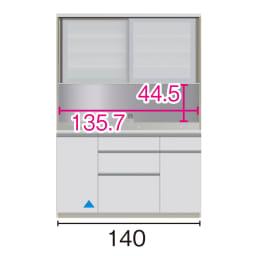 サイズが豊富な高機能シリーズ ダイニング深引き出し 幅140奥行45高さ198cm/パモウナ VZA-S1400R ※赤文字は内寸、黒文字は外寸表示です。(単位:cm) オープン部奥行40.5cm ▲部分の収納部は開扉です。