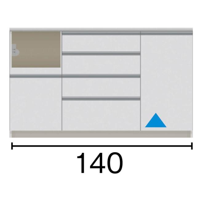 サイズが豊富な高機能シリーズ カウンター家電収納 幅140奥行50高さ84.8cm 家電収納部の位置:(イ)左 黒文字は外寸表示です。(単位:cm)オープン部奥行46 スライドテーブル部幅34.5高さ28.9奥行44cm ▲部分の収納部は開き扉です。