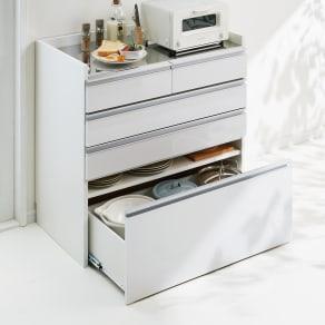 大型レンジ対応ステンレスクリーンキッチン カウンター 幅90cm 写真