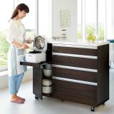 キッチンの間仕切りにも!家電が使いやすい腰高キッチンカウンター 幅120cm [パモウナ WH-120W] 写真