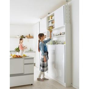 狭いキッチンでも置ける!薄型引き戸パントリー収納庫 奥行21cmタイプ 幅90cm 写真