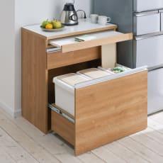 組立不要 スライド天板キッチン収納 ゴミ箱3分別 幅76cm