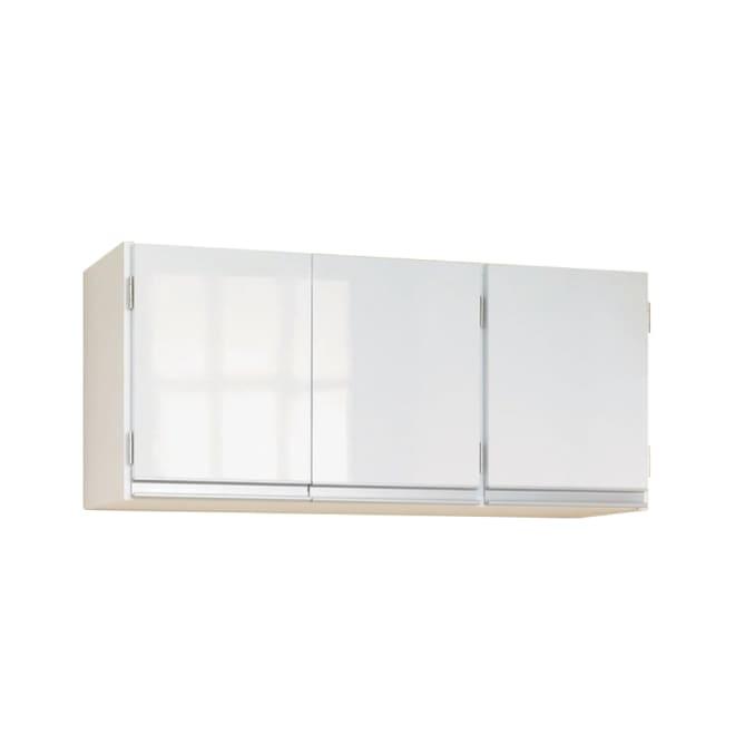 光沢仕上げ吊り戸棚 扉タイプ 幅90cm 壁付けできる吊り戸棚で、キッチンの欲しい場所に収納をプラス。前面は光沢仕上げで清潔感があります。