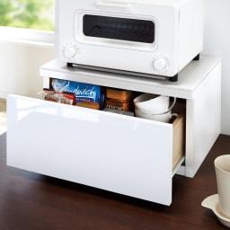 人工大理石天板トースター置きラック 幅45cm・引き出し1段付き 内寸高15cmでコーヒーやお茶類の収納に便利。