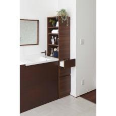 上部オープン棚で取り出しやすい 幅サイズオーダーすき間収納庫 奥行45cm・幅15~45cm