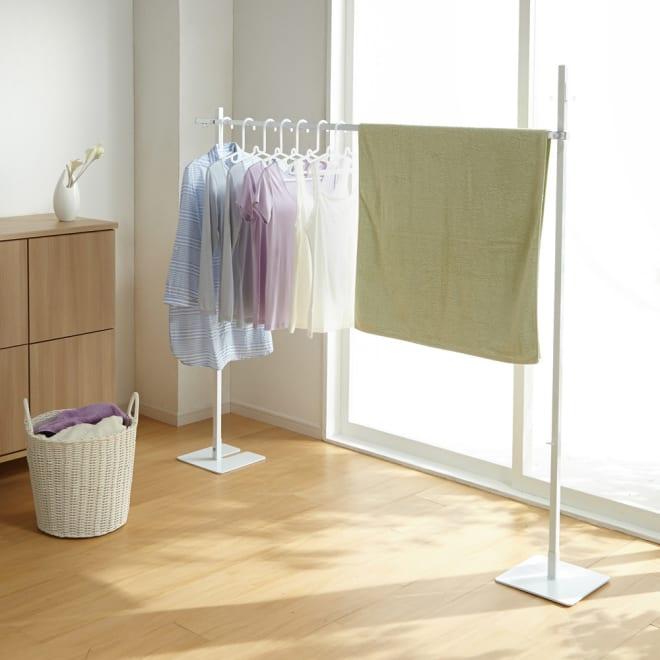 コンパクトに収納 2WAY物干しポールハンガー ロングタイプ 簡易的な室内物干しに便利なハンガーラックです。コンパクトな物干しとしてもおすすめです。