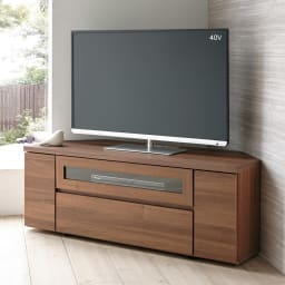天然木調お掃除がしやすいコーナーテレビ台 幅120cm (ア)ダークブラウン