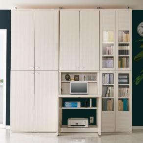 板扉 幅74.5cm×2台(重厚感のあるがっちり本棚シリーズ 上下セット+天井突っ張り金具) 写真