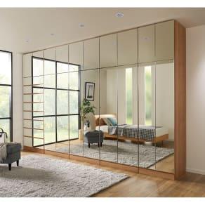 天然木調スタイルミラーワードローブ 棚 幅80cm 写真
