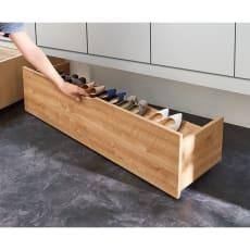 【日本製】下駄箱下木製シューズワゴン ロー(高さ20cm) 幅120cm