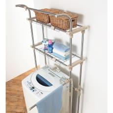 ステンレス製 洗濯機ラック(棚板2枚・ハンガー掛け・タオルハンガー付き)