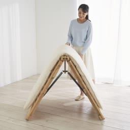 ぴったり並べられる折りたたみ ひのきすのこベッド お得な2台セット バネの力で、折りたたみの操作は軽々!