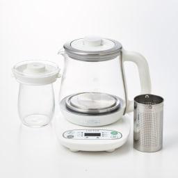 調理もできる温度調整もできるガラスの電気ケトル(クックケトル) ガラスポットとフィルター付き。