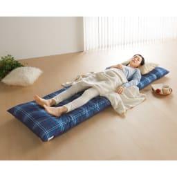 寝心地こだわりごろ寝布団 洗える専用カバー付きセット (イ)ネイビーXレッド