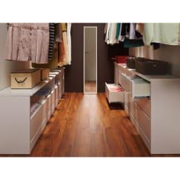 クローゼットスペースをより美しく、より有効利用できる収納シリーズ オープン&引き出し 幅100
