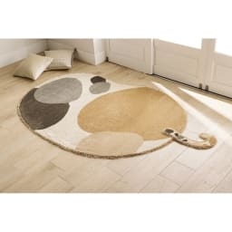 リラックスウィズラグ ブチマル・トラマル 約130×185cm (イ)ブチマルブラウン(ベージュ系)