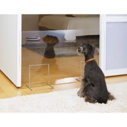 アクリル製ペットゲート 高さ40.5cm お得な2枚組(コーナー兼用) お部屋の入り口に(※画像は高さ50.5cmタイプです)