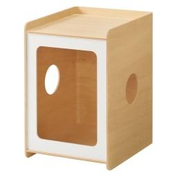ペットと過ごす曲げ木サイドテーブル スリム (ア)ホワイト 幅30cm奥行35cm高さ45cm