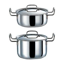 【特典2点付き】IH対応 服部先生のステンレス7層構造鍋「ジオ」 5点セット 上から 両手鍋、深型両手鍋