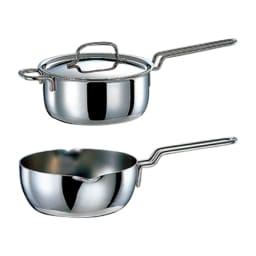 【特典2点付き】IH対応 服部先生のステンレス7層構造鍋「ジオ」 5点セット 上から 片手鍋、ゆきひら鍋