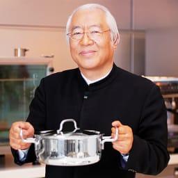 IH対応 服部先生のステンレス7層構造鍋「ジオ」 深型両手鍋径20cm 「主婦がシェフになる!」をポリシーにプロ仕様の品質を家庭料理の世界へ。「ジオ・プロダクト」スーパーバイザー 医学博士 服部幸應氏
