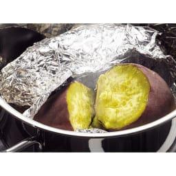 IH対応 服部先生のステンレス7層構造鍋「ジオ」 パスタポット径21cm まるで焼き芋屋さんのような仕上がり!ふかしイモとは違うホクホクの仕上がりです。