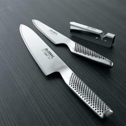 GLOBAL/グローバル 2点セット(小型包丁+牛刀) シャープナー付き