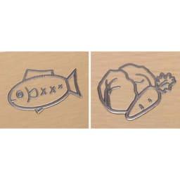 プロも納得 抗菌力が持続するまな板パルト 軽量コンパクト コンパクトタイプには野菜用、魚用と表裏で使い分けしやすいマークが入りました。
