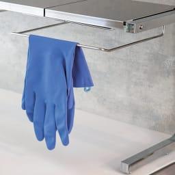 ステンレス棚どこでもサポートラック 1段デラックス まな板ラックは手袋ハンガーにも。