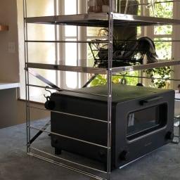ダブルフレーム ステンレス棚 トースターラック 2段 60cm