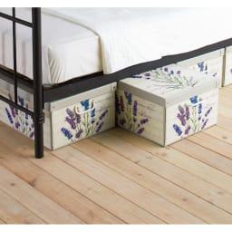 イタリア製収納ボックス 中サイズ (ウ)ラベンダー ベッド下の収納にも。柄を揃えて並べて置くだけでおしゃれ度アップ!