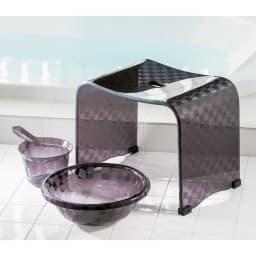 アクリル製バスチェア&バスボウル セット (エ)ブラック系 大 ※湯手桶はセット内容に含まれません。