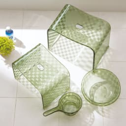 アクリル製 湯手桶 (イ)グリーン系 ※お届けは湯手桶のみです。
