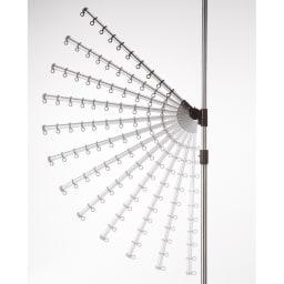 「どこでもポール」ワンタッチつっぱり物干し アーム2本+伸縮タオルハンガー(内外兼用) 取り付けワンタッチ! アーム角度は上下12段階に140度、水平に360度回転、高さも調節可能。