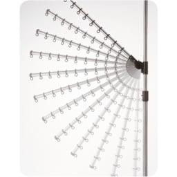 「どこでもポール」ワンタッチつっぱり物干し アーム2本+布団干し1本(屋内用) アーム角度は上下12段階に140度、水平に360度回転、高さも調節できます。