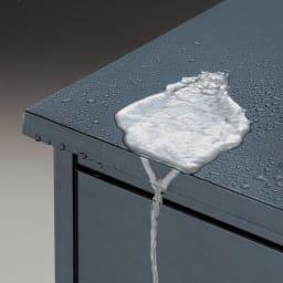 モダン2面開閉ダスト収納庫 幅100cm(容量230L) 天板のひさしと扉のフラップが雨水の浸入を防ぎ、内部を衛生的に保ちます。