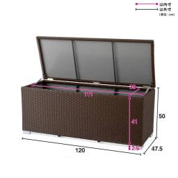 組立不要ラタン調ベンチ収納 幅120cm ※ダンパー本数2本→1本へ仕様変更となりました。