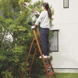 木目調ワイドステップ脚立 4段 高所作業も、しっかりした持ち手付きで安心。